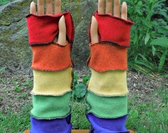 Cashmere Arm Warmers, Fingerless Gloves, Texting Gloves, Driving Gloves, Hand Warmers, Rainbow, Recycled Sweaters, Winter Accessories, Eco