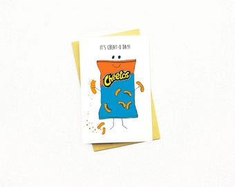 Funny Cheat Day Card...Friend Birthday Card...Funny Food Card...Funny Gym Card...Cheetos Card...Friend Card...Love Card...It's Cheat-O-Day!