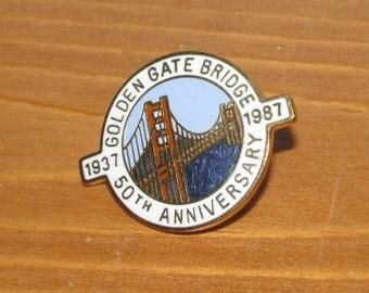 Vintage Golden Gate Bridge 50th Anniversary Lapel Pin 1937 - 1987