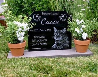 Pet Memorial Grave Marker Complete Memorial Dog Cat Granite Headstone With  Heavy Composite Base Stand Indoor