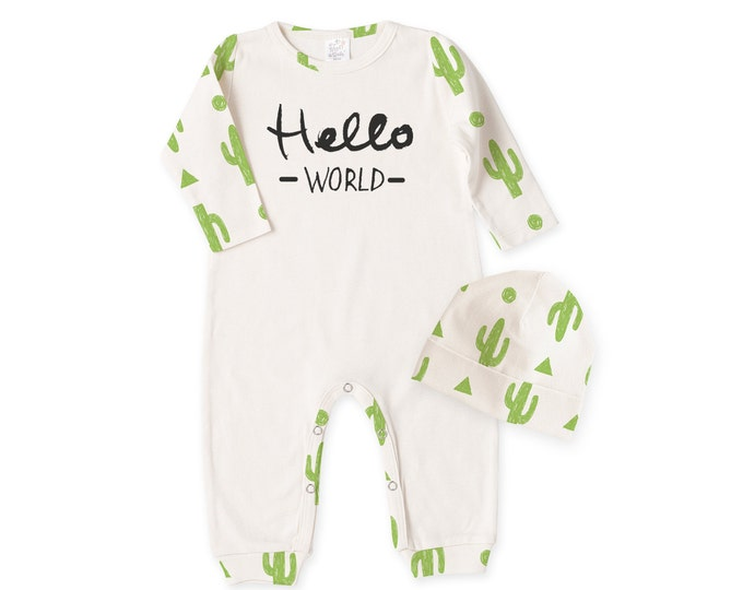 Southwestern Baby Outfit, Newborn Boy Coming Home, Newborn Girl Coming Home, Hello World Baby Outfit, Cactus Baby Set Tesababe RC810IYCI0044