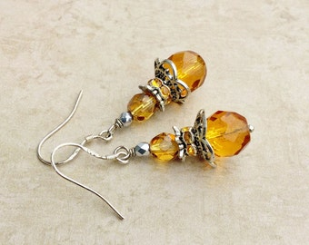 Topaz Earrings, Yellow Earrings, Golden Earrings, Light Brown Earrings, Czech Glass Beads, Womens Earrings, Silver Earrings, Unique Earrings