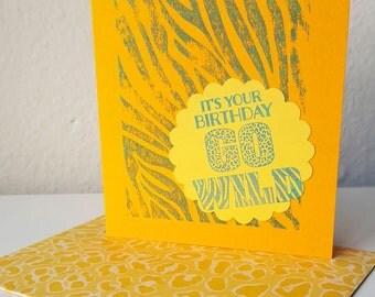 Yellow Animal Print Happy Birthday Card - Leopard Zebra Stamp Ink