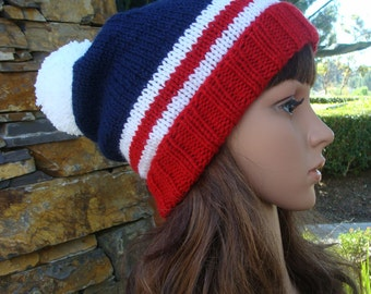 PATTERN  #8: Fourth Of July Beanie, 4th of July Beanie, Patriotic Knit Beanie, Size Teen/Adult - Instant Download PDF Digital File/Pattern