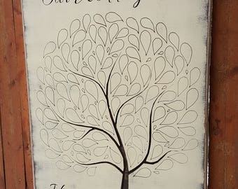 "Custom Carved Wooden Sign - ""Our Wedding Tree - Wedding/Reception Guest Book"""
