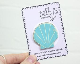 Mermaid Sea Shell Screen Printed Wooden Lasercut Brooch