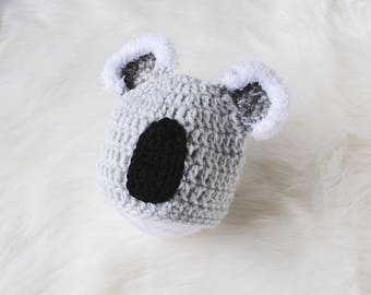 Koala Baby Hat, Koala Baby Costume, Halloween Baby Costume, Koala Hat, Crochet Koala, Knit Bear Hat, Baby Bear Costume, Newborn Baby Hat