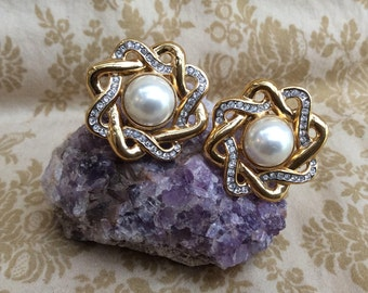 Butler 5th Avenue Collection Pearl and Rhinestone Clip On Earrings Goldtone
