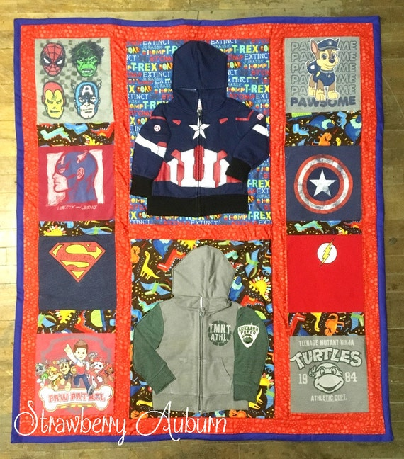 Baby or Toddler Boy Clothing Memory Quilt Crib Size approx 30x50""
