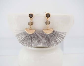 Gray and Gold Fan Tassel Earrings