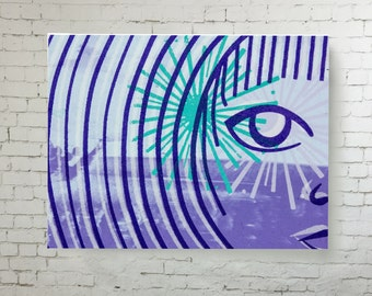Canvas Wall Art, Screen print reproduction onto wall canvas, bold design home decor blue, purple, green, printed canvas ready to hang