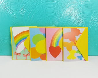 Current blank cards etsy vintage set of 12 rainbow graphics note cards with envelopes blank greeting cards current m4hsunfo