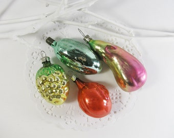 4 Christmas tree decorations, Set of 4,  Glass Christmas vegetable fruit ornaments, Grape, Cucumber, Plum, Eggplant, Soviet Union, 1970s