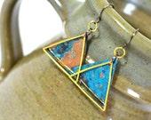 Geometric earrings - blue patina - rustic earrings - triangle earrings - mixed metal earrings - Patina copper earrings - modern earrings