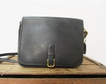 Coach Vintage Classic Black Leather Crossbody USA Saddle Pouch Bag Buckle Purse