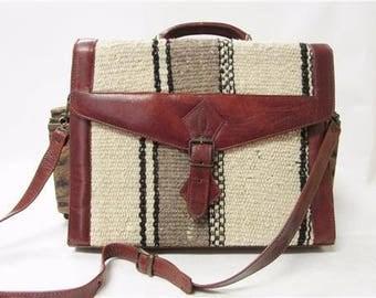 Vintage Black & White Kilim Tapestry Brown Leather Messenger Briefcase Laptop Bag