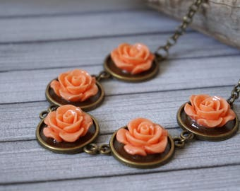 Peach Rose Necklace Rose Jewelry Flower Jewellery Rose bridesmaid gift Trending now Peach bridesmaid Rose bib necklace Resin rose necklace