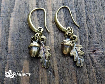 Druidess Oak Leaf Acorn Bronze Botanical Earrings