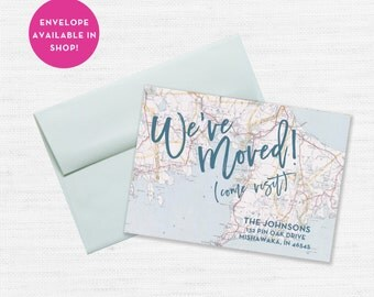 We've Moved Announcement, Come Visit Card, New Home, New Address Card, Moving Announcement, New Home Card, Map