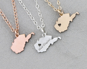 West Virginia Necklace • Virginia Charm • WVU • Long Distance Relationship • College Gift • Moving Away Gift Engraved Gold State