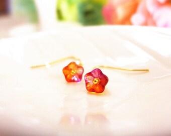 Red Flower Earrings, Red Earrings,  Fashion Earrings, Red Dangle Earrings, Small Flower Earrings, Flower Girl Earrings, Bridesmaid Jewelry