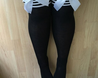 Rhoda Black Stripy Top Bows Lingerie Thigh High Stockings