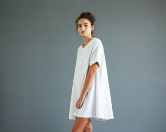 Women's t shirt dress ,white t shirt dress, oversize t shirt dress,oversize tunic, white shirt dress, minimalist dress, white t shirt dress