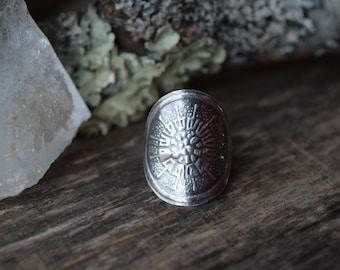 Silver Saddle Ring Bohemian Ring Silver Shield Ring Gypsy Ring Silver Boho Ring Tribal Ring