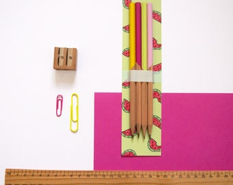 Pencil Set / Watermelon Pencils / Hand Painted Pencils / Desk Accessory / Cute Stationery / Back to School