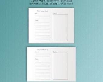 Midori Traveler's Notebook Inserts Brainstorming Printable 8.25 x 4.33 Printable PDF Refill TN insert. Midori Insert. Instant Download.