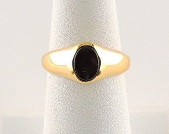 Size 7 Sterling Silver Gold Plated And Black Onyx Ring