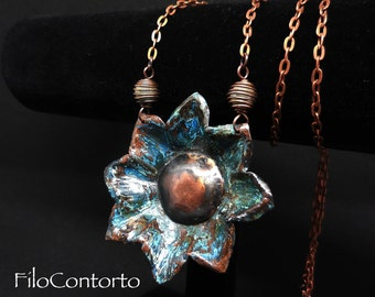 Necklace with big flower pendant wrought copper handmade copper jewelry