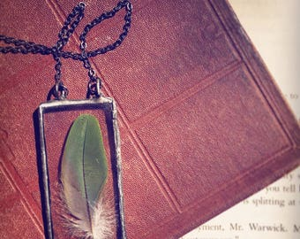 Real Feather Necklace, Hand Cut Glass, Wearable Terrarium, Time Capsule, mother nature, OOAK, woodland, boho style