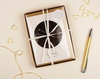 Constellation Card Set // Twelve Star Sign Cards with Gold Glitter Detail // 100% Recycled Cards & Envelopes // Zodiac Card Set