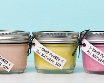 Set of 3, 4 oz. Aromatherapy Soy Candles **All Natural** De-stress, Relax, Headache/illness