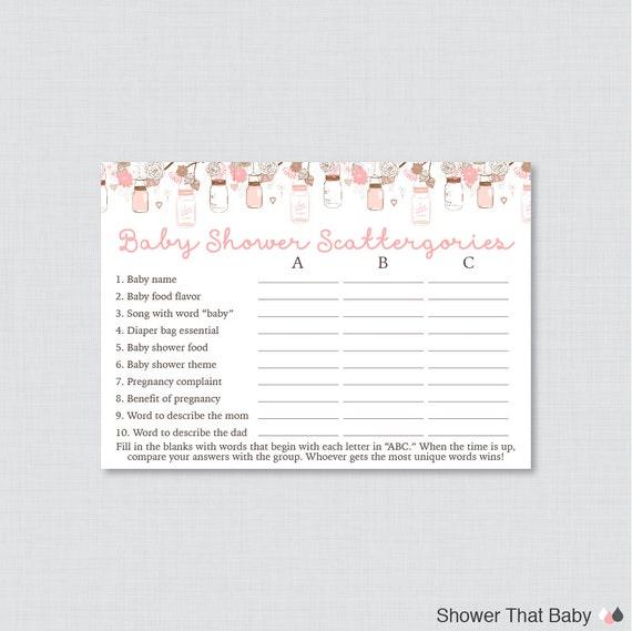 pink mason jar baby shower scattergories game printable