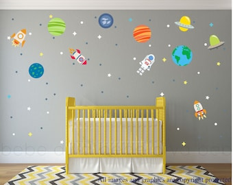 Outer Space Wall Decals, Boy Wall Decals, Wall Decals Nursery, Baby Wall Decal, Kids Wall Decals, Nursery Wall Decal, REMOVABLE and REUSABLE