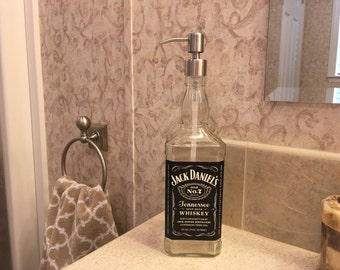 Soap Dispenser Jack D Whiskey Liquor Bottle , Metal Soap Pump, Kitchen and Bathroom Dispenser, Birthday Gift, Bar Decoration, Recycled