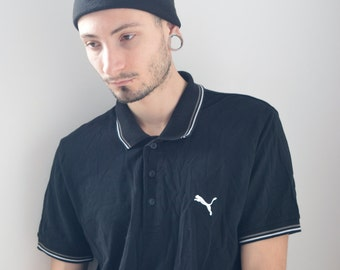 PUMA POLO -black, hip hop, vaporwave, club kid, sporty, nike, aesthetic, normcore, short sleeve, tshirt, adidas, gothic, sad boys-