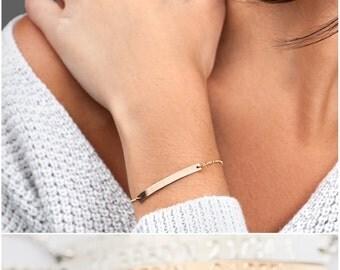 Dainty Personalized Coordinates Bracelet, Graduation Jewelry, Custom Coordinates Bar, Latitude Longitude Minimalist Bracelet [M440]