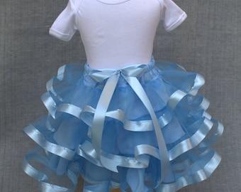 Soft blue tutu, ribbon trimmed tutu, satin ribbon tutu, custom tutu, wedding tulle skirt, flower girl tutu skirt, Blue ribbon tutu