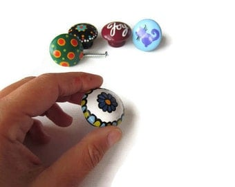 Cabinet knobs, drawer pulls, colourful home decor, home accents, furniture accents, handpainted decor, small knobs, 1
