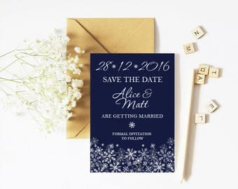 Save The Date - Snowflake - Winter Wedding