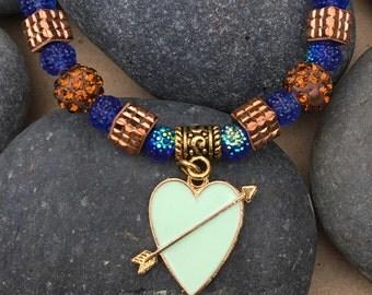 Tiffany Blue Arrow Heart Charm Bracelet
