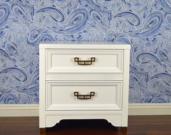 SOLD ***** White Lacquered Nightstand / End Table