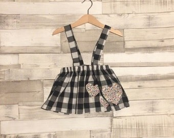 Baby Checkered Skirt | Black and White Skirt | Heart Applique Skirt | Baby Gingham Skirt | Check Skirt | Skirt with braces