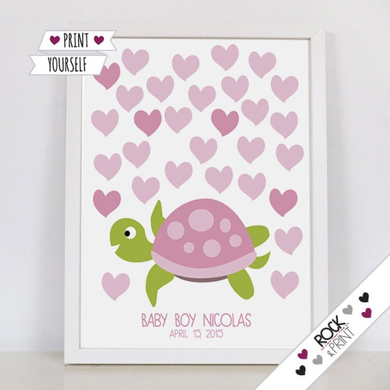 Hearts turtle guest book baby shower printable pdf birthday il570xn solutioingenieria Choice Image