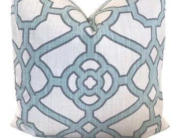 Geometric Pillow Cover P Kaufmann Pavilion Fretwork Tropical Blue Pillow Cover Trellis Pillow Throw Pillow  20X20 18X18 ONE Cover