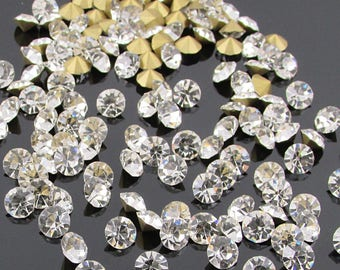 Clear Crystal Rhinestones, 24ss Chatons, Pointed Back Foiled Glass Stones for Jewelry Making, 48 pcs SS241CR