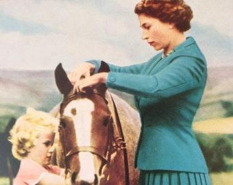 Vintage illustration-1950's-Queen Elizabeth II-Princess Anne-Horse-Pony-Collectible-Royal Memorabilia-Home-Wall Decor